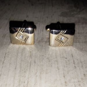 Other - Gold Rectangular Crystal Accented Cuff Links